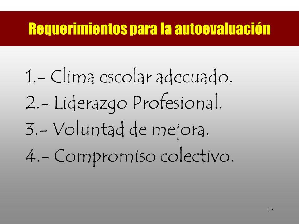 13 Requerimientos para la autoevaluación 1.- Clima escolar adecuado. 2.- Liderazgo Profesional. 3.- Voluntad de mejora. 4.- Compromiso colectivo.