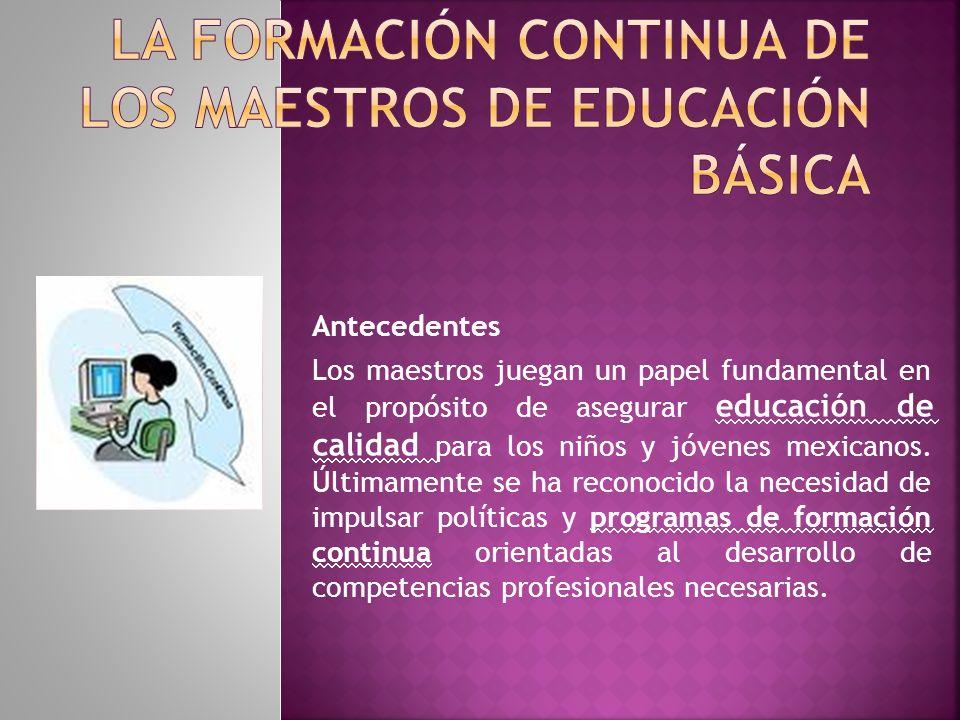 Antecedentes Los maestros juegan un papel fundamental en el propósito de asegurar educación de calidad para los niños y jóvenes mexicanos.