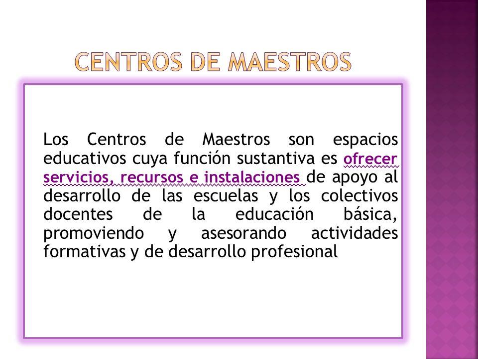 Los Centros de Maestros son espacios educativos cuya función sustantiva es ofrecer servicios, recursos e instalaciones de apoyo al desarrollo de las escuelas y los colectivos docentes de la educación básica, promoviendo y asesorando actividades formativas y de desarrollo profesional