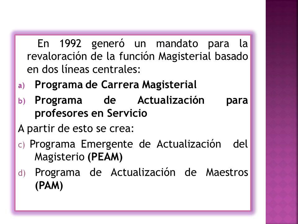 En 1992 generó un mandato para la revaloración de la función Magisterial basado en dos líneas centrales: a) Programa de Carrera Magisterial b) Programa de Actualización para profesores en Servicio A partir de esto se crea: c) Programa Emergente de Actualización del Magisterio (PEAM) d) Programa de Actualización de Maestros (PAM) En 1992 generó un mandato para la revaloración de la función Magisterial basado en dos líneas centrales: a) Programa de Carrera Magisterial b) Programa de Actualización para profesores en Servicio A partir de esto se crea: c) Programa Emergente de Actualización del Magisterio (PEAM) d) Programa de Actualización de Maestros (PAM)