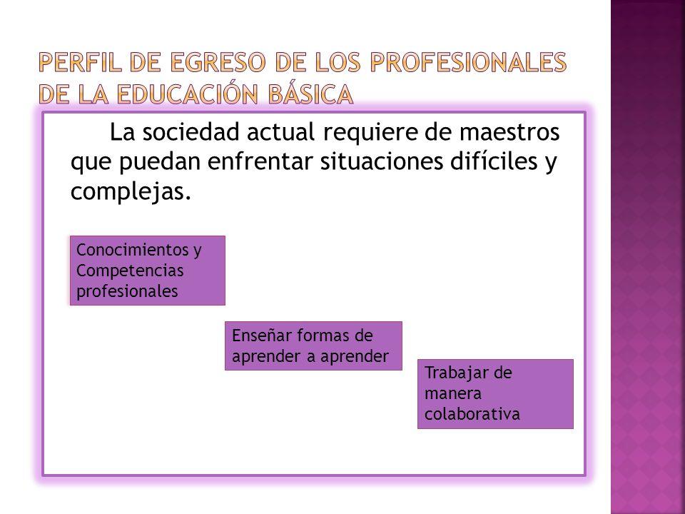 La sociedad actual requiere de maestros que puedan enfrentar situaciones difíciles y complejas.
