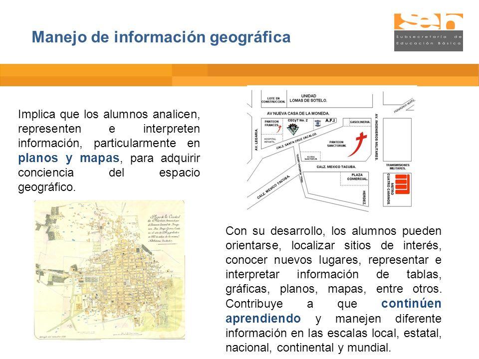 Implica que los alumnos analicen, representen e interpreten información, particularmente en planos y mapas, para adquirir conciencia del espacio geogr