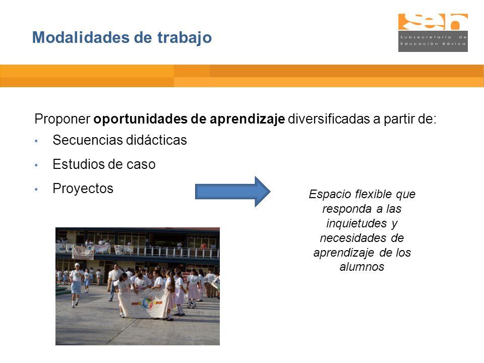 Proponer oportunidades de aprendizaje diversificadas a partir de: Secuencias didácticas Estudios de caso Proyectos Espacio flexible que responda a las