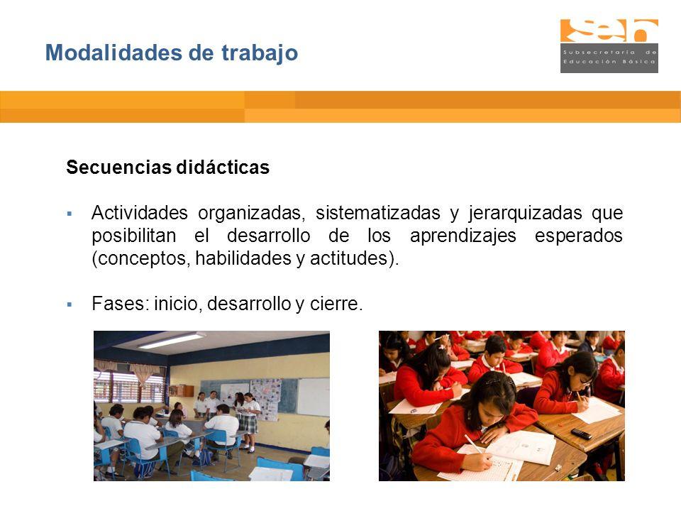 Secuencias didácticas Actividades organizadas, sistematizadas y jerarquizadas que posibilitan el desarrollo de los aprendizajes esperados (conceptos,