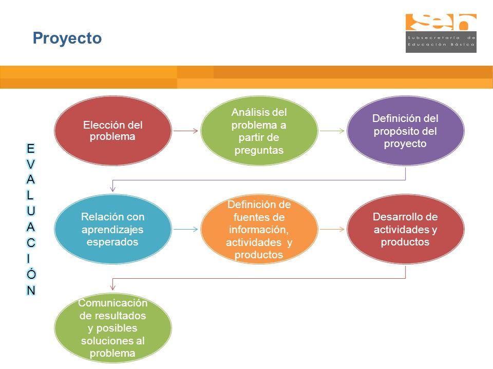 Elección del problema Análisis del problema a partir de preguntas Definición del propósito del proyecto Relación con aprendizajes esperados Definición