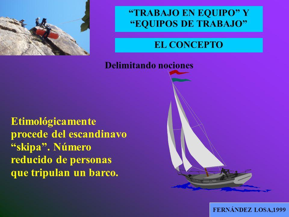 EL CONCEPTO TRABAJO EN EQUIPO Y EQUIPOS DE TRABAJO FAINSTEIN,2000 El concepto de equipo, aplicado a las organizaciones, tiene su origen en la versión
