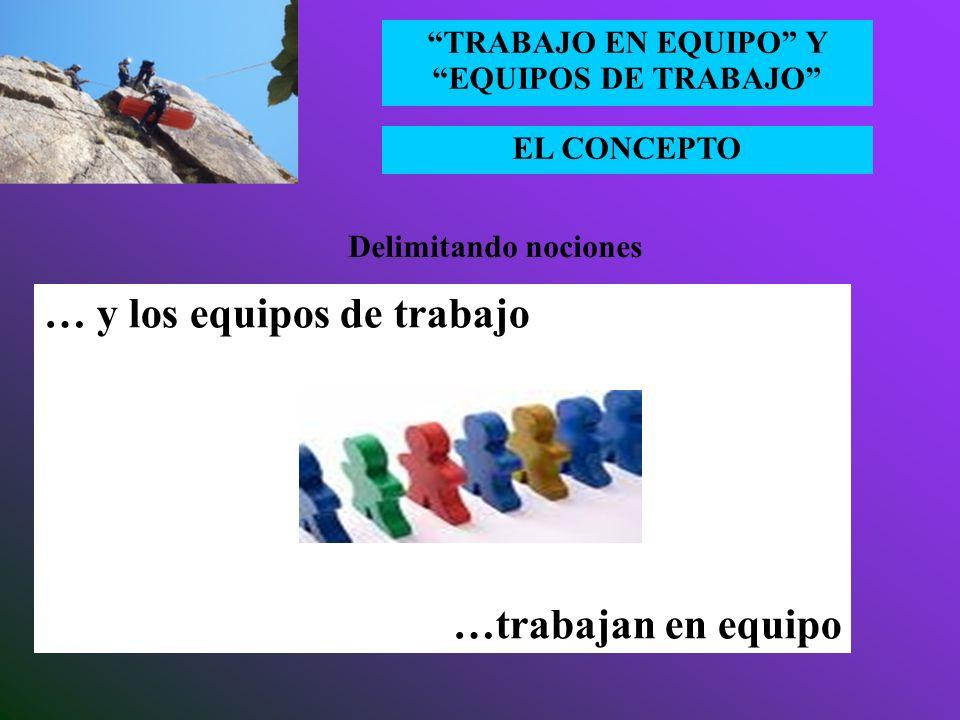 EL CONCEPTO TRABAJO EN EQUIPO Y EQUIPOS DE TRABAJO Un equipo es un pequeño número de personas con habilidades complementarias que están comprometidos