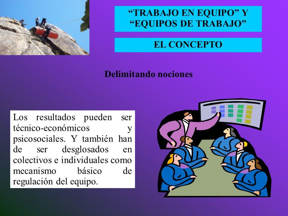 EL CONCEPTO TRABAJO EN EQUIPO Y EQUIPOS DE TRABAJO Los procesos aluden a los mecanismos organizativos y psico-sociales de coordinación empleados entre