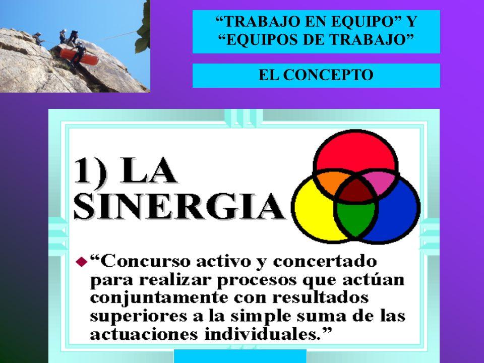 EL CONCEPTO TRABAJO EN EQUIPO Y EQUIPOS DE TRABAJO Y la máxima expresión de la eficacia en el marco del trabajo en equipo es… ¡¡¡¡ LA SINERGIA ¡¡¡¡ De