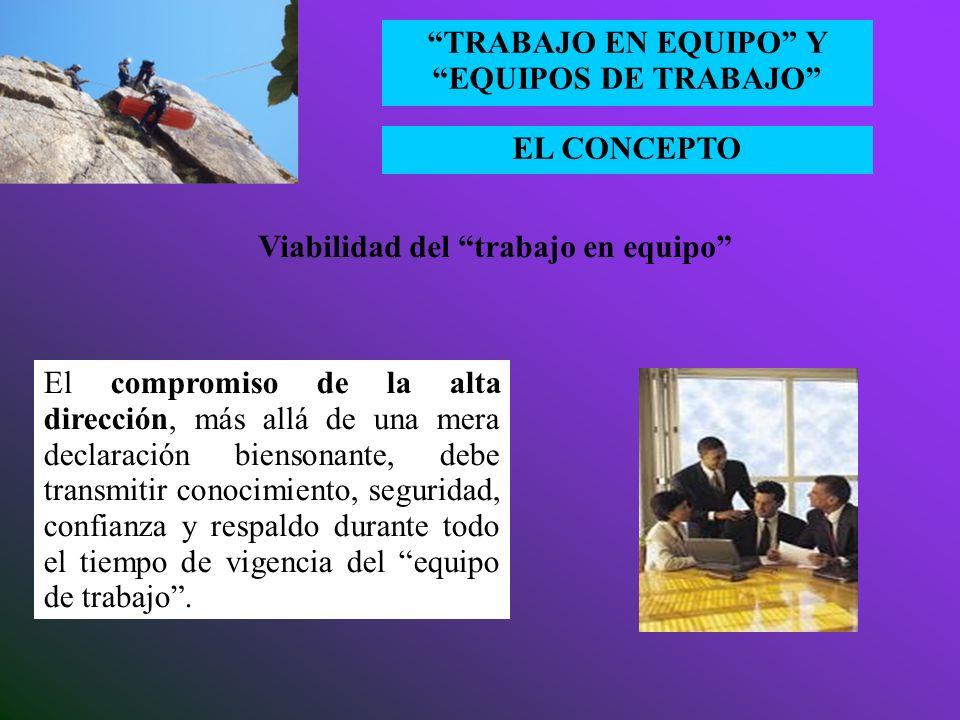 EL CONCEPTO TRABAJO EN EQUIPO Y EQUIPOS DE TRABAJO Viabilidad del trabajo en equipo Existen tres condiciones simultáneas que abren las puertas al trab