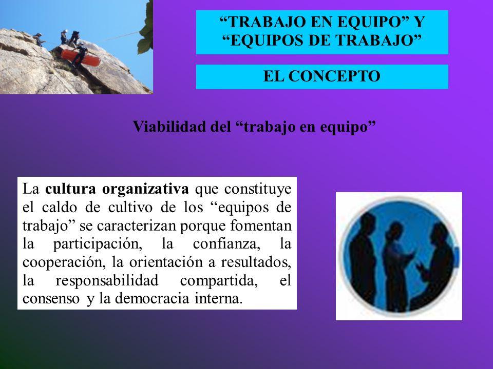 EL CONCEPTO TRABAJO EN EQUIPO Y EQUIPOS DE TRABAJO Viabilidad del trabajo en equipo El compromiso de la alta dirección, más allá de una mera declaraci