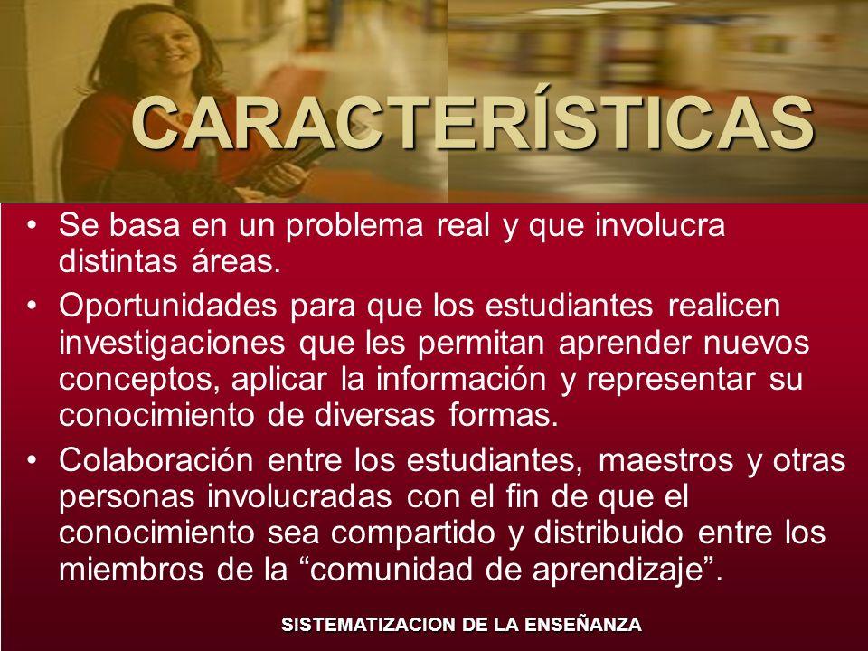 SISTEMATIZACION DE LA ENSEÑANZA CARACTERÍSTICAS El uso de herramientas cognitivas y ambientes de aprendizaje que motiven al estudiante a representar sus ideas.