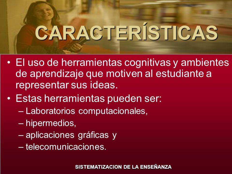 SISTEMATIZACION DE LA ENSEÑANZA CARACTERÍSTICAS El uso de herramientas cognitivas y ambientes de aprendizaje que motiven al estudiante a representar s