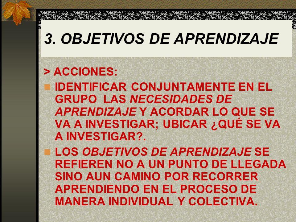 3. OBJETIVOS DE APRENDIZAJE > ACCIONES: IDENTIFICAR CONJUNTAMENTE EN EL GRUPO LAS NECESIDADES DE APRENDIZAJE Y ACORDAR LO QUE SE VA A INVESTIGAR; UBIC