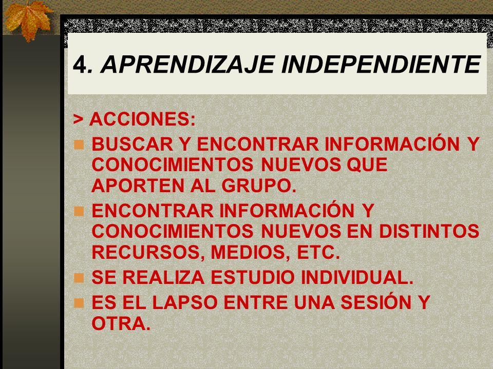 4. APRENDIZAJE INDEPENDIENTE > ACCIONES: BUSCAR Y ENCONTRAR INFORMACIÓN Y CONOCIMIENTOS NUEVOS QUE APORTEN AL GRUPO. ENCONTRAR INFORMACIÓN Y CONOCIMIE