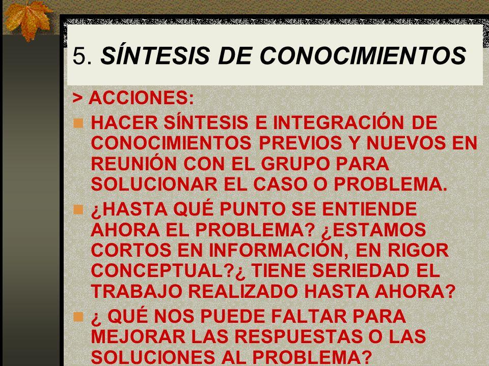 5. SÍNTESIS DE CONOCIMIENTOS > ACCIONES: HACER SÍNTESIS E INTEGRACIÓN DE CONOCIMIENTOS PREVIOS Y NUEVOS EN REUNIÓN CON EL GRUPO PARA SOLUCIONAR EL CAS