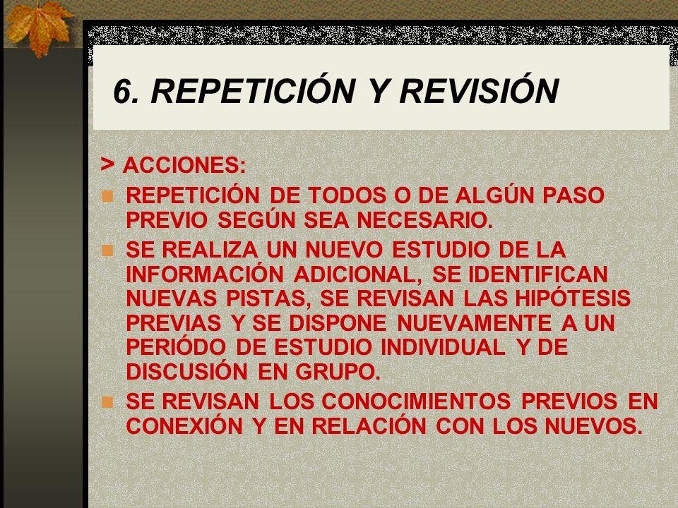 6. REPETICIÓN Y REVISIÓN > ACCIONES: REPETICIÓN DE TODOS O DE ALGÚN PASO PREVIO SEGÚN SEA NECESARIO. SE REALIZA UN NUEVO ESTUDIO DE LA INFORMACIÓN ADI