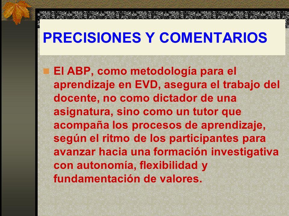PRECISIONES Y COMENTARIOS El ABP, como metodología para el aprendizaje en EVD, asegura el trabajo del docente, no como dictador de una asignatura, sin