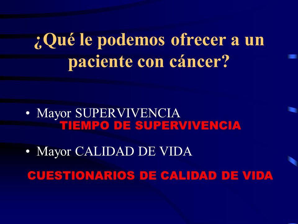 ¿Qué le podemos ofrecer a un paciente con cáncer? Mayor SUPERVIVENCIA Mayor CALIDAD DE VIDA TIEMPO DE SUPERVIVENCIA CUESTIONARIOS DE CALIDAD DE VIDA