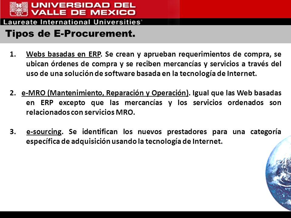 Tipos de E-Procurement. 1.Webs basadas en ERP. Se crean y aprueban requerimientos de compra, se ubican órdenes de compra y se reciben mercancías y ser