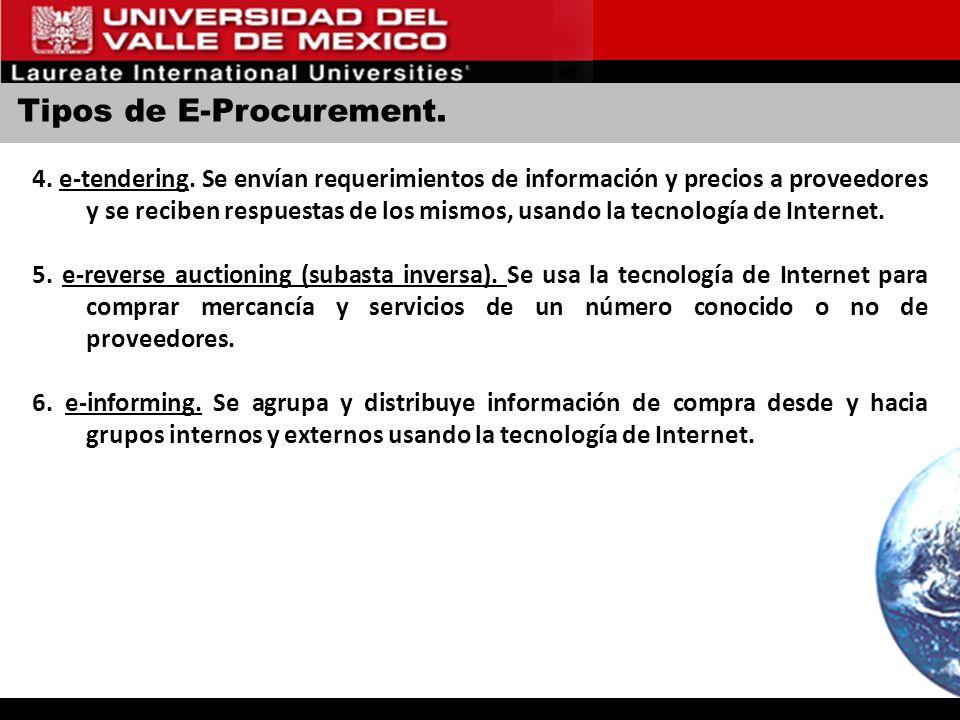Tipos de E-Procurement. 4. e-tendering. Se envían requerimientos de información y precios a proveedores y se reciben respuestas de los mismos, usando
