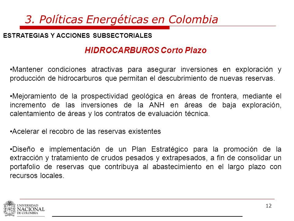12 3. Políticas Energéticas en Colombia ESTRATEGIAS Y ACCIONES SUBSECTORIALES HIDROCARBUROS Corto Plazo Mantener condiciones atractivas para asegurar