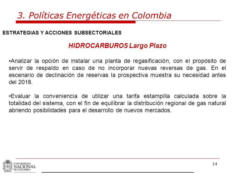 14 3. Políticas Energéticas en Colombia ESTRATEGIAS Y ACCIONES SUBSECTORIALES HIDROCARBUROS Largo Plazo Analizar la opción de instalar una planta de r
