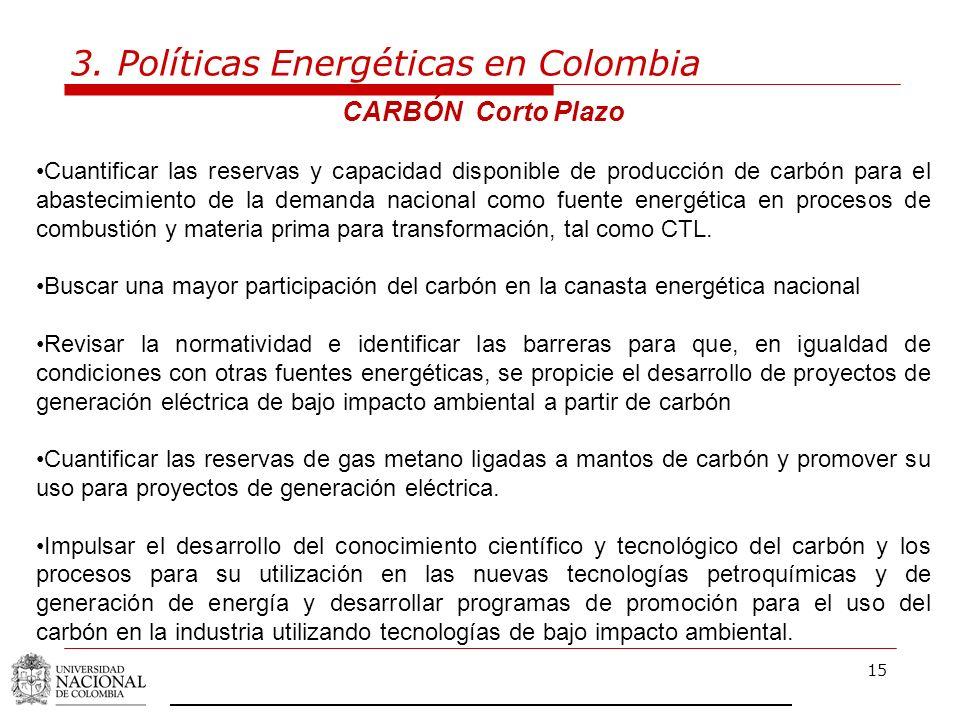 15 3. Políticas Energéticas en Colombia CARBÓN Corto Plazo Cuantificar las reservas y capacidad disponible de producción de carbón para el abastecimie