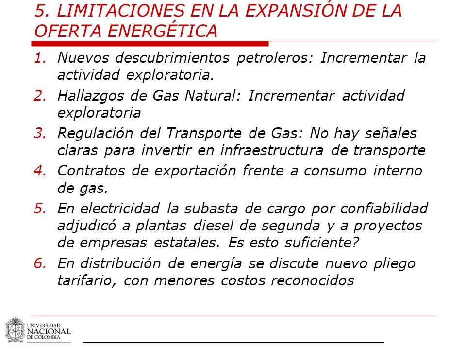 5. LIMITACIONES EN LA EXPANSIÓN DE LA OFERTA ENERGÉTICA 1.Nuevos descubrimientos petroleros: Incrementar la actividad exploratoria. 2.Hallazgos de Gas
