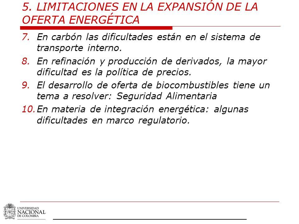 5. LIMITACIONES EN LA EXPANSIÓN DE LA OFERTA ENERGÉTICA 7.En carbón las dificultades están en el sistema de transporte interno. 8.En refinación y prod