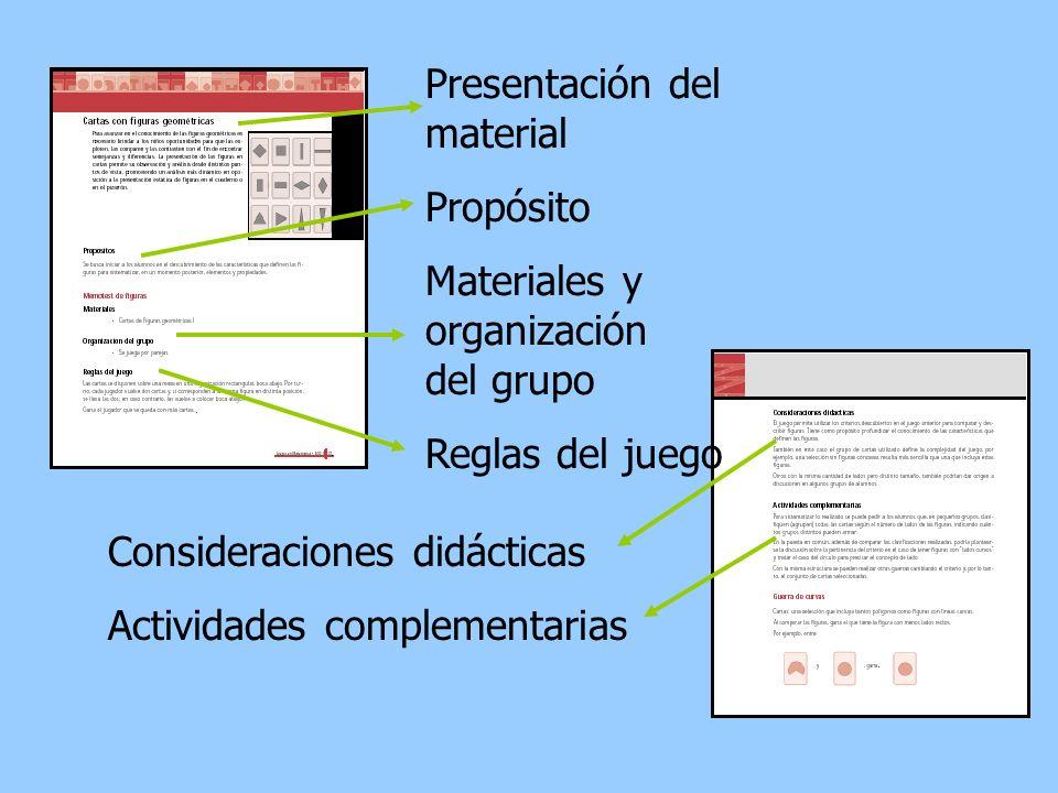 Presentación del material Propósito Materiales y organización del grupo Reglas del juego Consideraciones didácticas Actividades complementarias