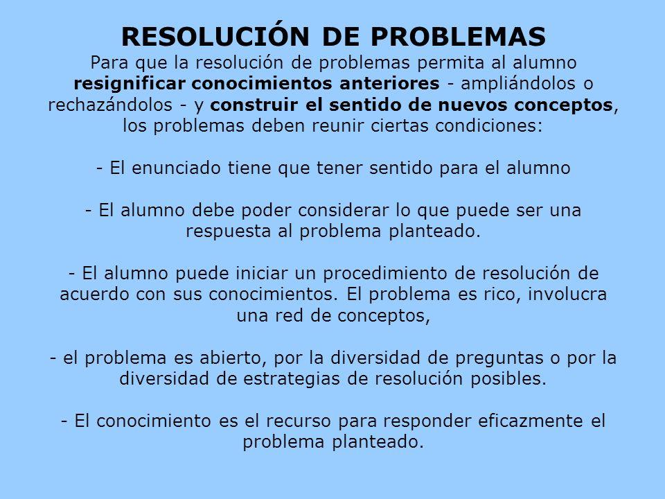 RESOLUCIÓN DE PROBLEMAS Para que la resolución de problemas permita al alumno resignificar conocimientos anteriores - ampliándolos o rechazándolos - y