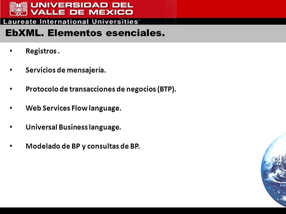 EbXML. Elementos esenciales. Registros. Servicios de mensajería. Protocolo de transacciones de negocios (BTP). Web Services Flow language. Universal B