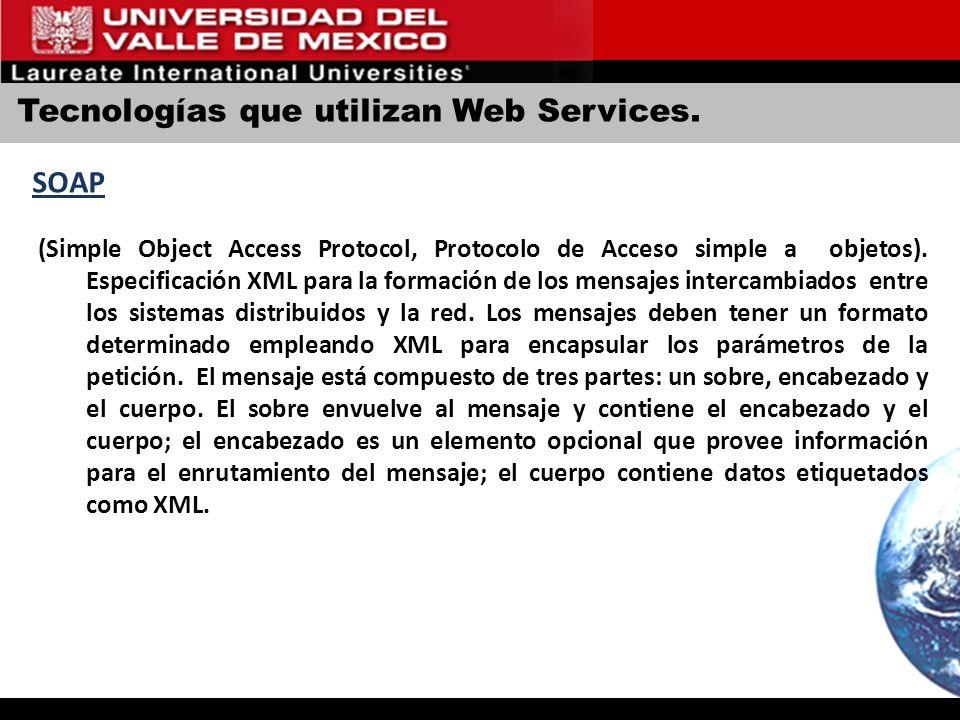 Tecnologías que utilizan Web Services. SOAP (Simple Object Access Protocol, Protocolo de Acceso simple a objetos). Especificación XML para la formació