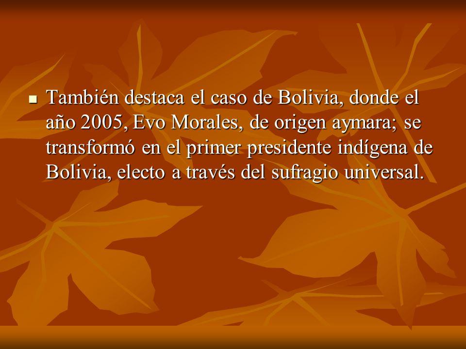 También destaca el caso de Bolivia, donde el año 2005, Evo Morales, de origen aymara; se transformó en el primer presidente indígena de Bolivia, elect