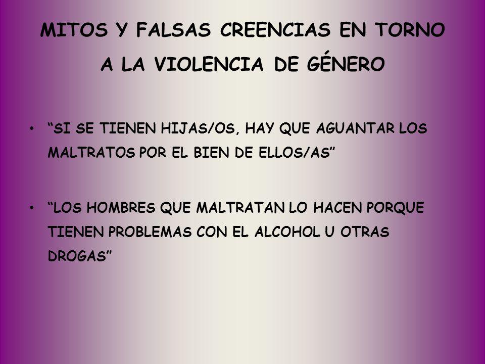 MITOS Y FALSAS CREENCIAS EN TORNO A LA VIOLENCIA DE GÉNERO SI SE TIENEN HIJAS/OS, HAY QUE AGUANTAR LOS MALTRATOS POR EL BIEN DE ELLOS/AS LOS HOMBRES Q