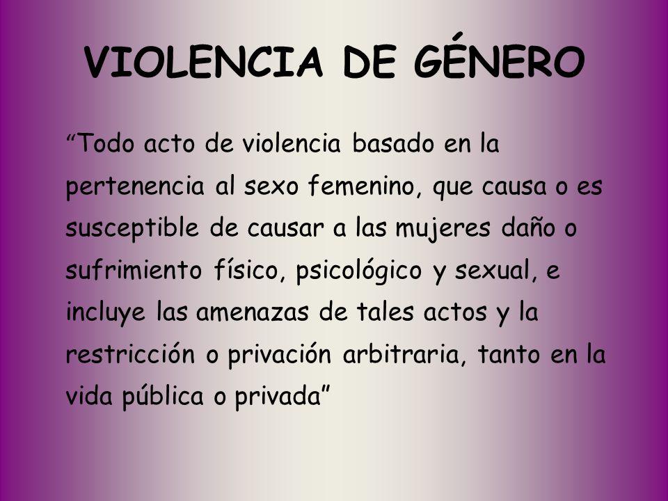 VIOLENCIA DE GÉNERO Todo acto de violencia basado en la pertenencia al sexo femenino, que causa o es susceptible de causar a las mujeres daño o sufrim