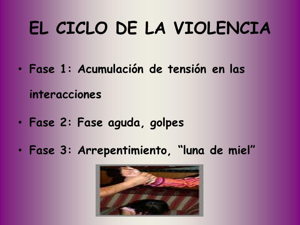EL CICLO DE LA VIOLENCIA Fase 1: Acumulación de tensión en las interacciones Fase 2: Fase aguda, golpes Fase 3: Arrepentimiento, luna de miel