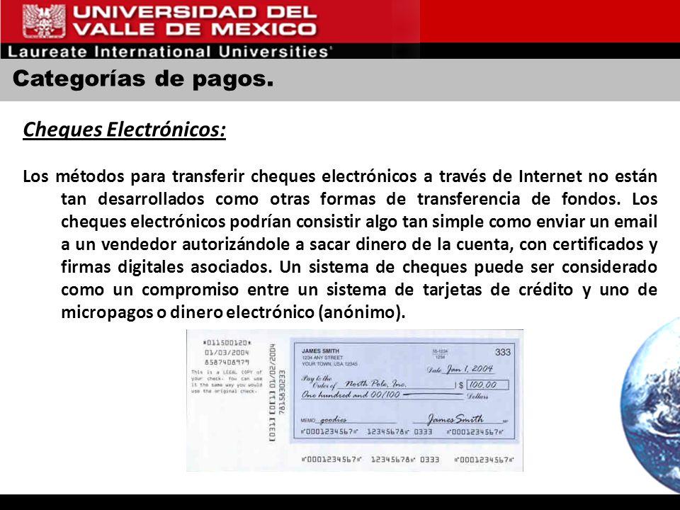 Categorías de pagos. Cheques Electrónicos: Los métodos para transferir cheques electrónicos a través de Internet no están tan desarrollados como otras