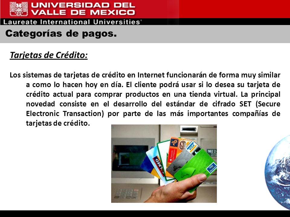 Categorías de pagos. Tarjetas de Crédito: Los sistemas de tarjetas de crédito en Internet funcionarán de forma muy similar a como lo hacen hoy en día.