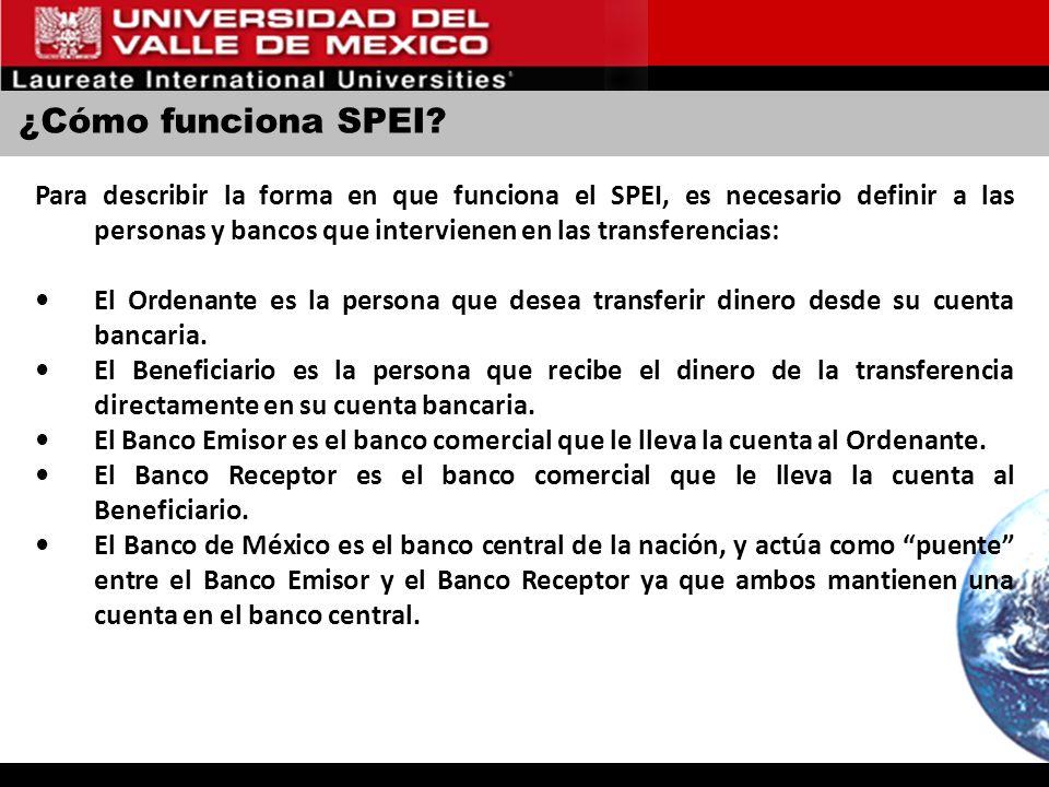 ¿Cómo funciona SPEI? Para describir la forma en que funciona el SPEI, es necesario definir a las personas y bancos que intervienen en las transferenci