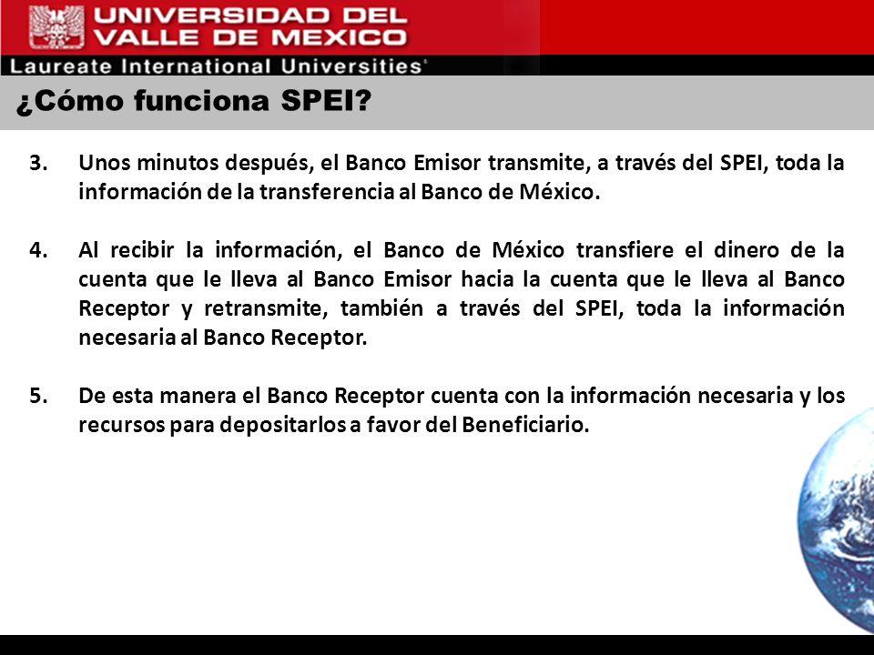 ¿Cómo funciona SPEI? 3.Unos minutos después, el Banco Emisor transmite, a través del SPEI, toda la información de la transferencia al Banco de México.