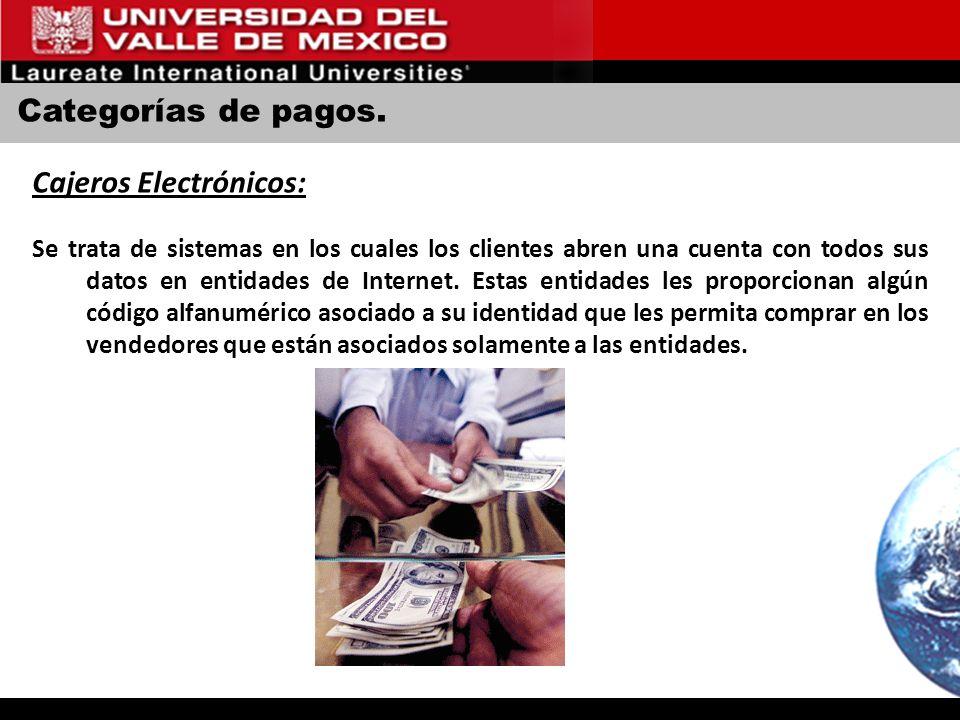 Categorías de pagos. Cajeros Electrónicos: Se trata de sistemas en los cuales los clientes abren una cuenta con todos sus datos en entidades de Intern