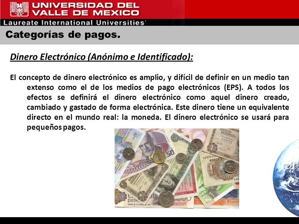 Categorías de pagos. Dinero Electrónico (Anónimo e Identificado): El concepto de dinero electrónico es amplio, y difícil de definir en un medio tan ex