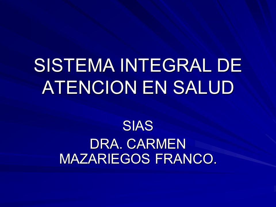 SISTEMA INTEGRAL DE ATENCION EN SALUD SIAS DRA. CARMEN MAZARIEGOS FRANCO.