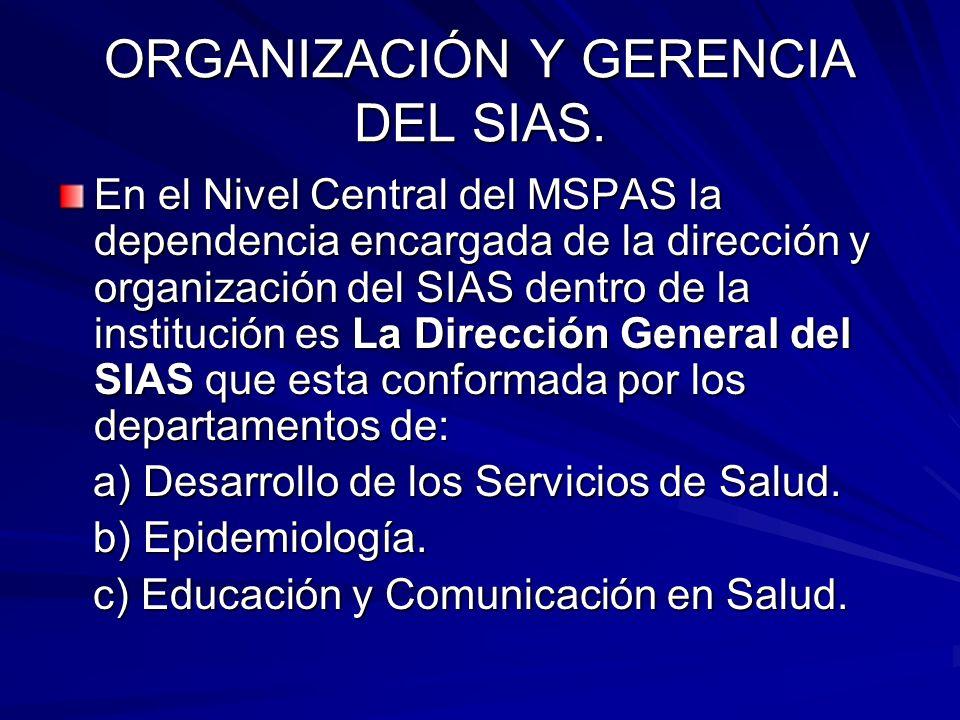 ORGANIZACIÓN Y GERENCIA DEL SIAS. En el Nivel Central del MSPAS la dependencia encargada de la dirección y organización del SIAS dentro de la instituc