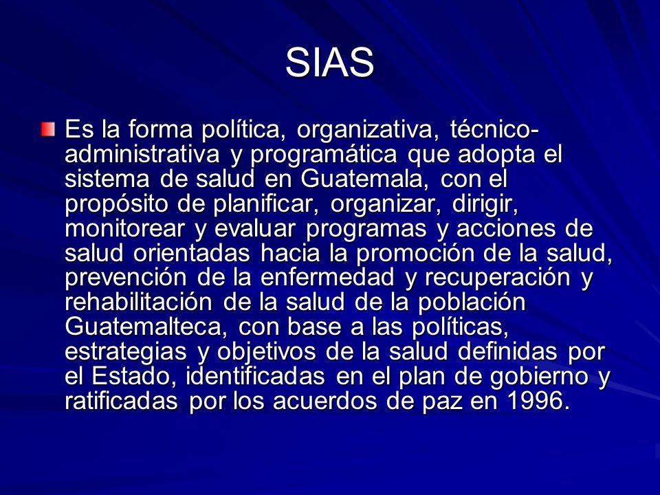 SIAS Es la forma política, organizativa, técnico- administrativa y programática que adopta el sistema de salud en Guatemala, con el propósito de plani