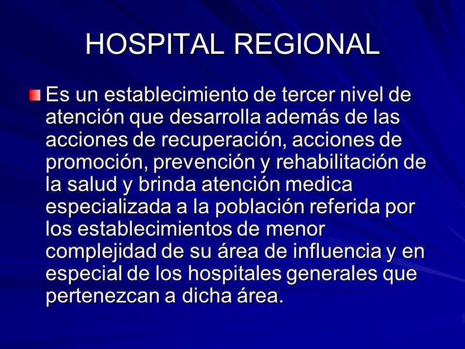 HOSPITAL REGIONAL Es un establecimiento de tercer nivel de atención que desarrolla además de las acciones de recuperación, acciones de promoción, prev