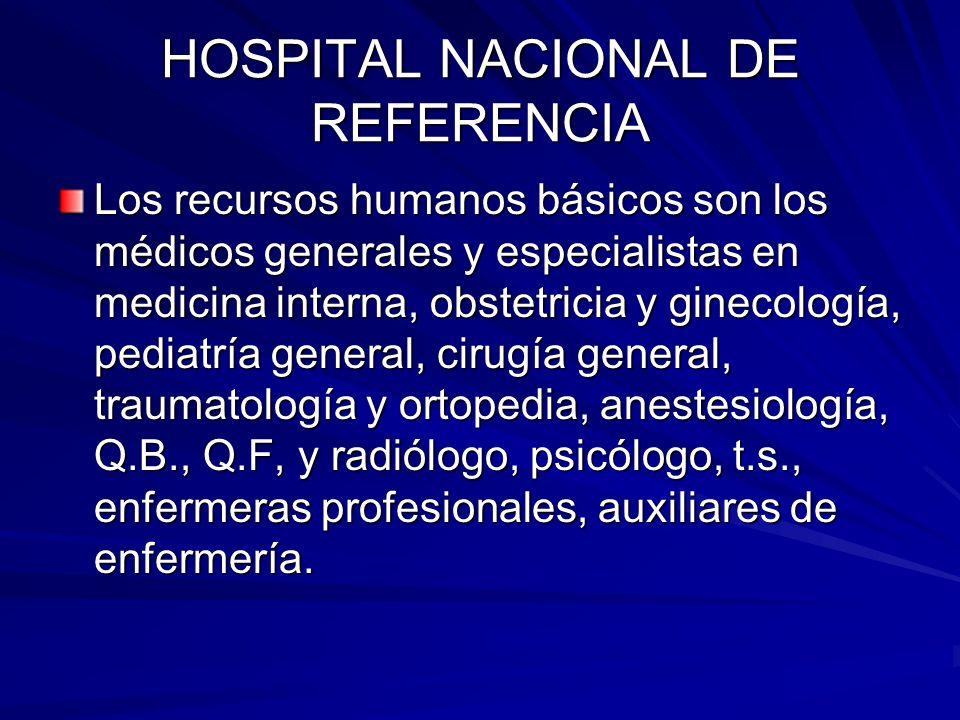 HOSPITAL NACIONAL DE REFERENCIA Los recursos humanos básicos son los médicos generales y especialistas en medicina interna, obstetricia y ginecología,