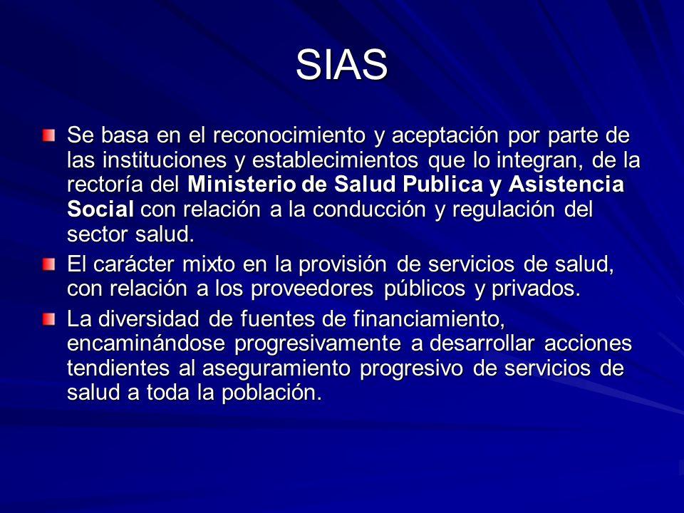 SIAS Se basa en el reconocimiento y aceptación por parte de las instituciones y establecimientos que lo integran, de la rectoría del Ministerio de Sal